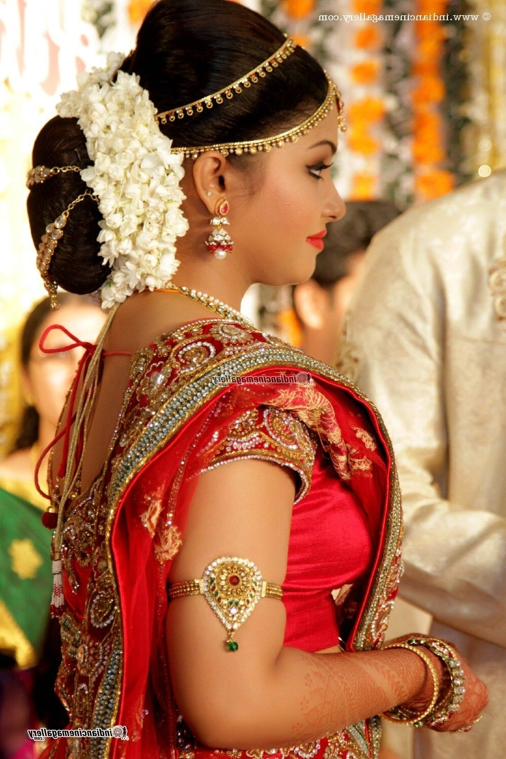 Traditional Southern Indian Bride Wearing Bridal Silk Saree Intended For Well Liked Wedding Hairstyles For Sarees (View 11 of 15)