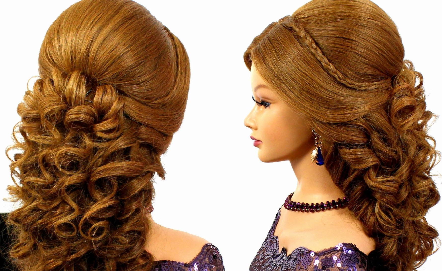 Trendy Wedding Evening Hairstyles Throughout Romantic Bridal Prom Hairstyle For Long Hair Tutorial – Youtube (View 11 of 15)