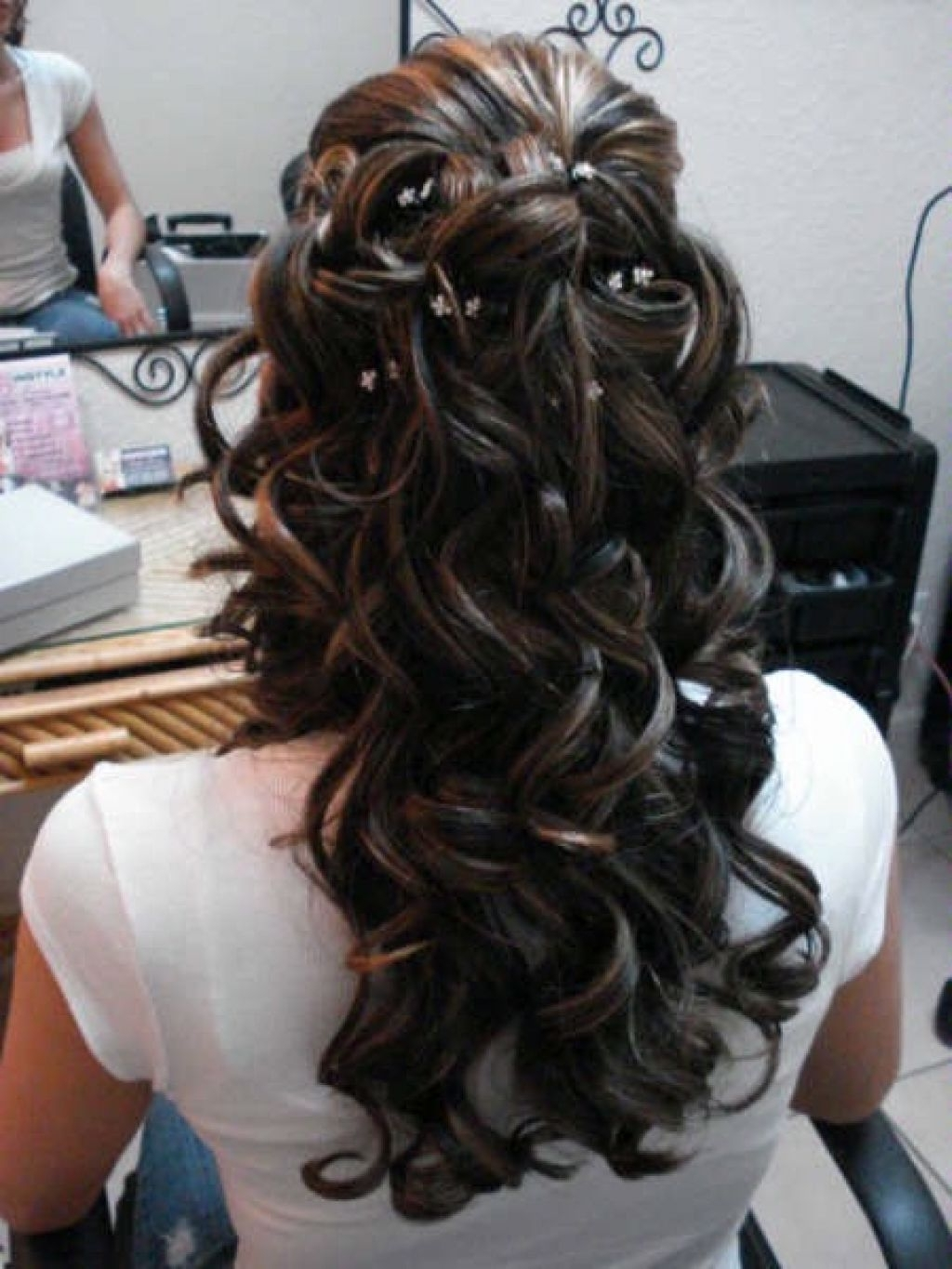 Trendy Wedding Hairstyles For Long Dark Hair Pertaining To Partial Updo Long Hair Specially Highlight Hair Color – Bilbaofotos (View 12 of 15)