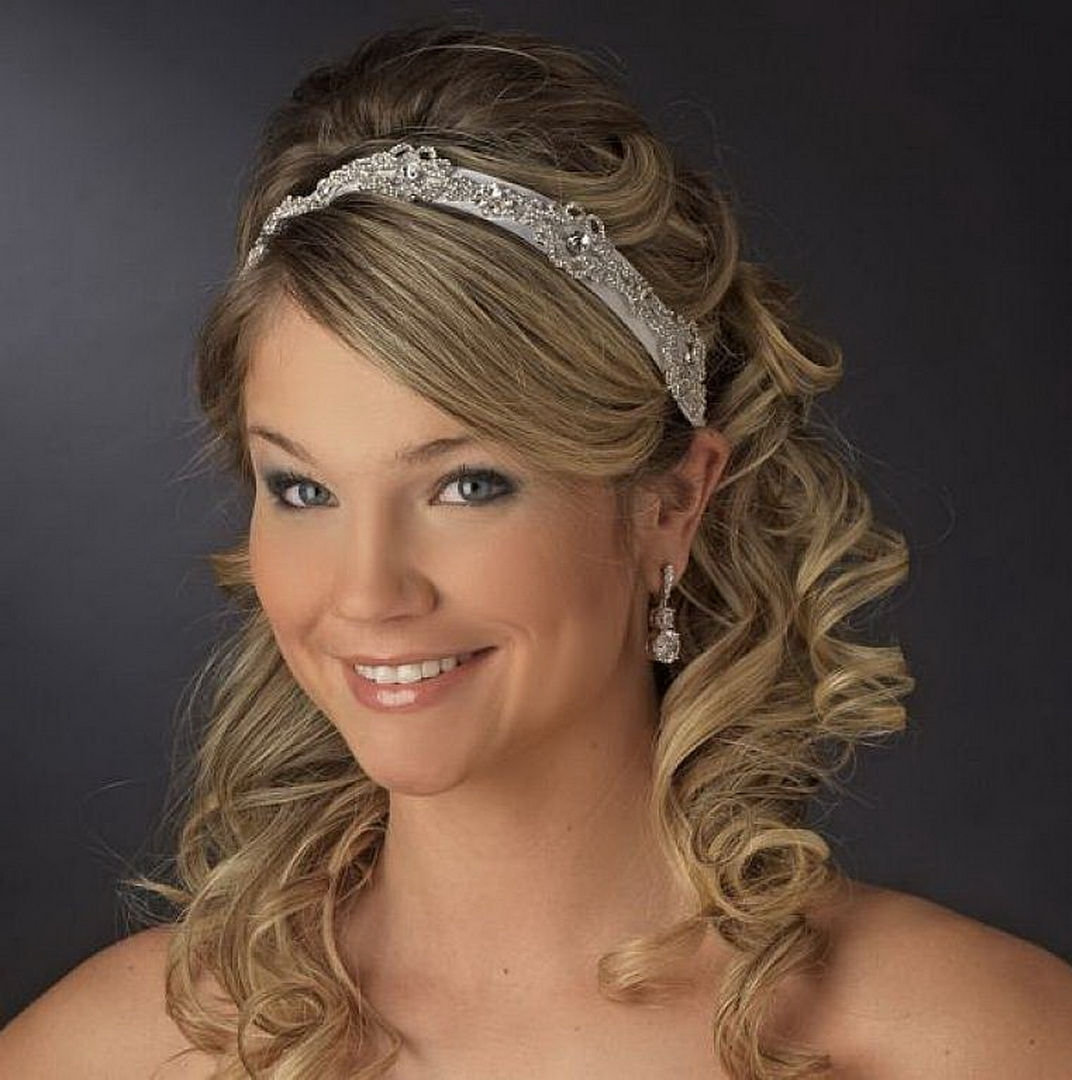 Trendy Wedding Hairstyles For Long Hair With Headband Within Wedding Hairstyles Ideas: Curly Half Up Wedding Hairstyles For Long (View 12 of 15)