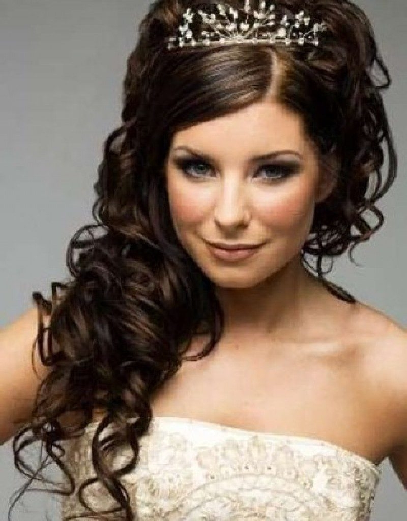 Trendy Wedding Hairstyles With Crown Intended For Curly Bridal Hairstyles With Tiara And Veil Long Wedding Wonderful (View 12 of 15)
