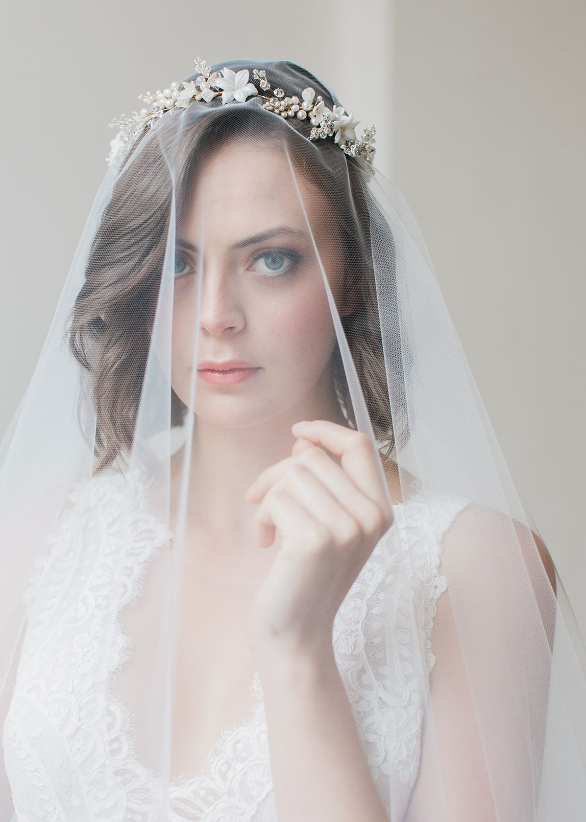 Trendy Wedding Hairstyles With Headband And Veil With Regard To Cassia (View 6 of 15)