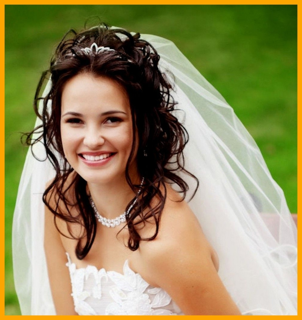 Unbelievable Half Up Down Wedding Hairstyles Veil Tiara U Room Pic Pertaining To Most Popular Wedding Hairstyles For Long Hair Down With Veil (Gallery 6 of 15)