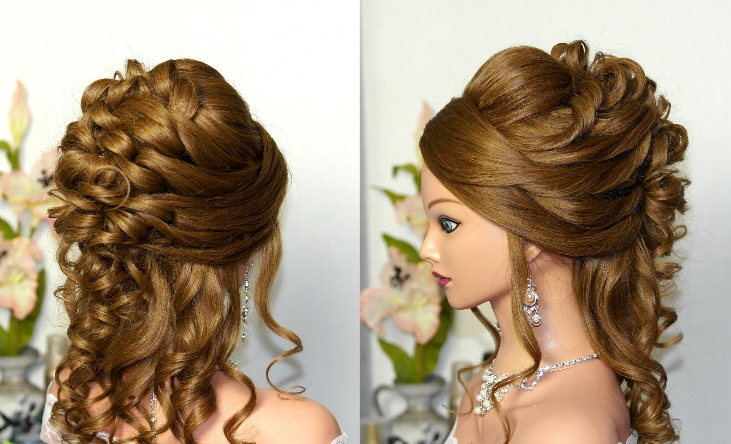 2018 Popular Simple Wedding Hairstyles For Long Curly Hair