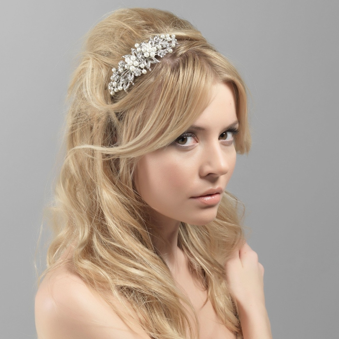 Vintage Pearl Side Tiara – Wedding Hair Accessory – Glitzy Secrets Regarding Famous Wedding Hairstyles With Tiara (View 9 of 15)