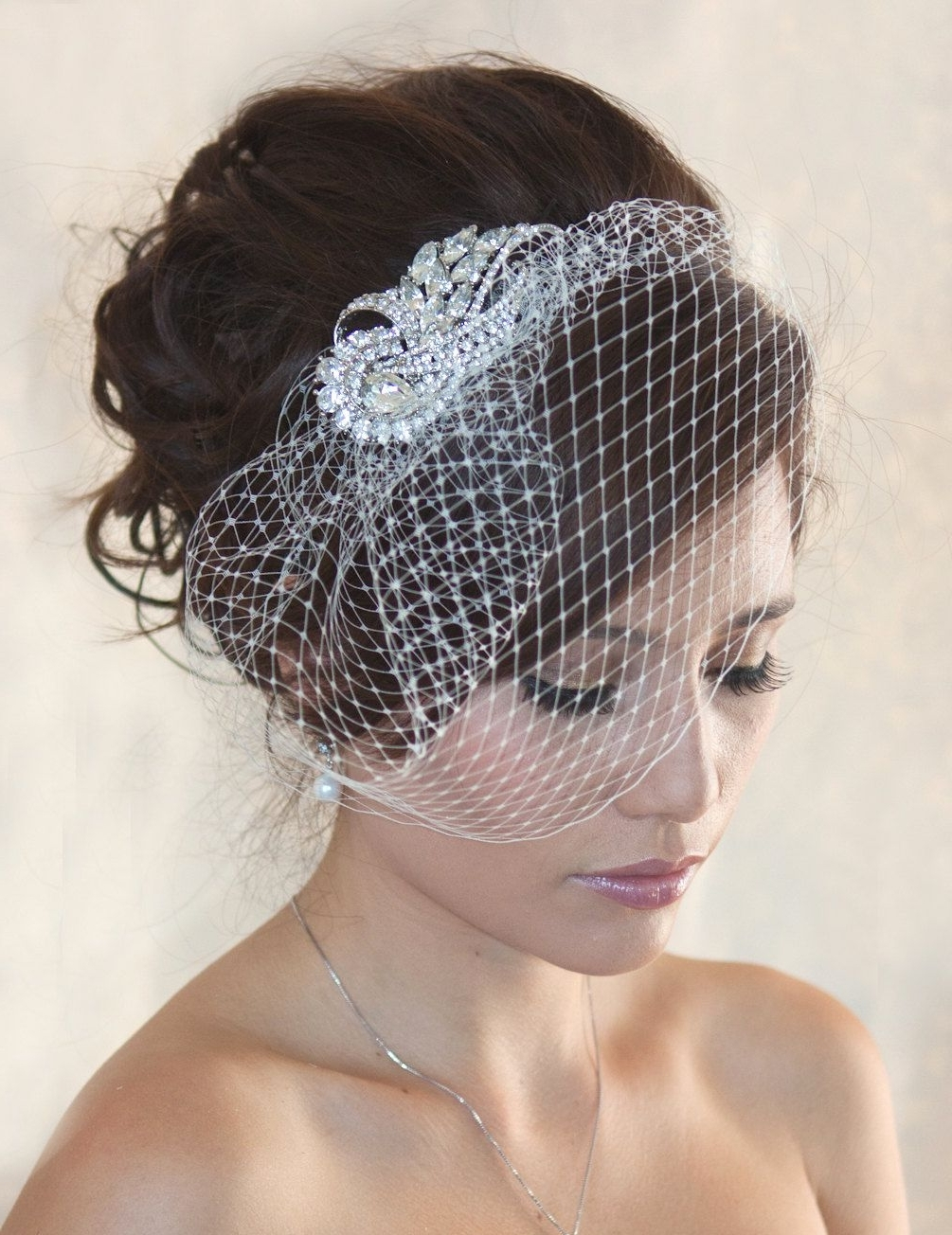 Wedding Birdcage Veil With Crystal Rhinestone Brooch Vi01 Comb Or With Regard To Widely Used Wedding Hairstyles For Short Hair With Birdcage Veil (View 9 of 15)