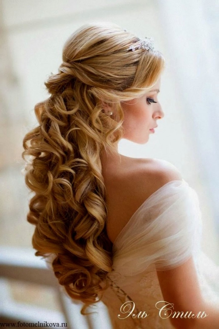 Wedding Hair Half Up Half Down With Veil – Wedding Party Decoration Regarding Popular Wedding Hairstyles With Tiara And Veil (View 6 of 15)