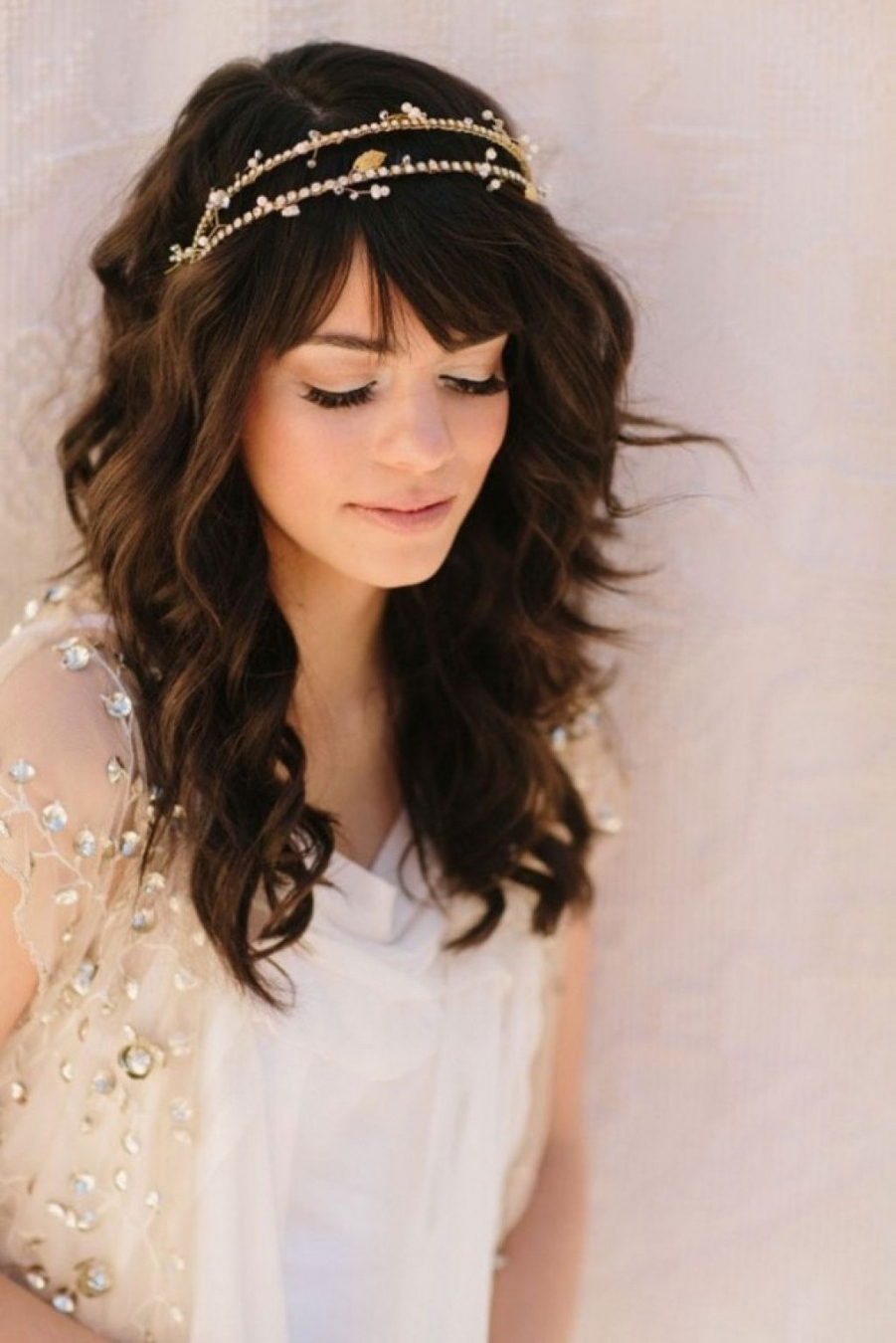 Wedding Hair : Simple Wedding Hair Styles With Bangs Designs 2018 Intended For Preferred Half Up Half Down With Fringe Wedding Hairstyles (View 14 of 15)