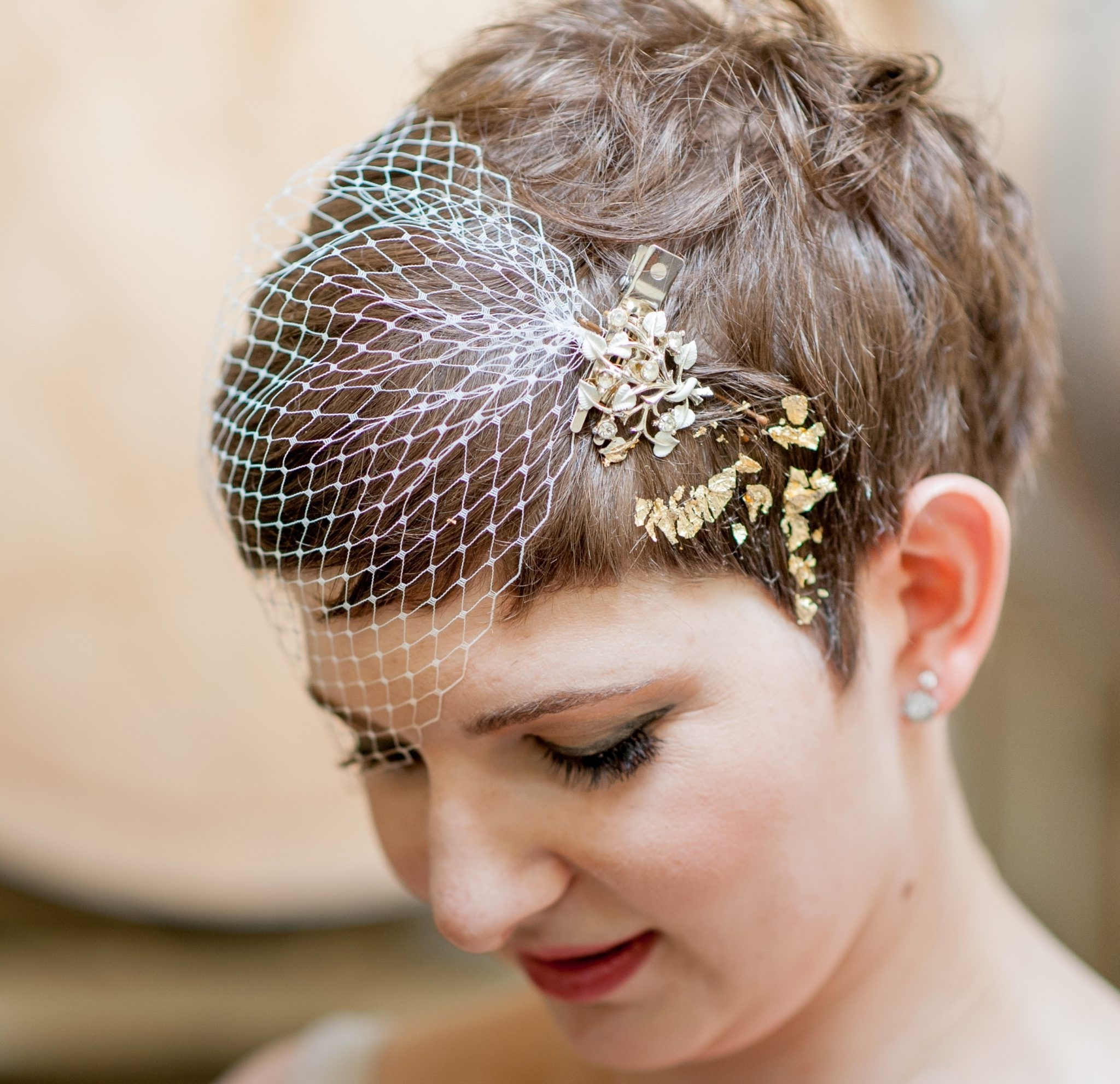 Wedding Hairstyle Brides Pixie Haircut Brown Hair With Veil Inside Popular Wedding Hairstyles For Short Hair And Veil (View 15 of 15)