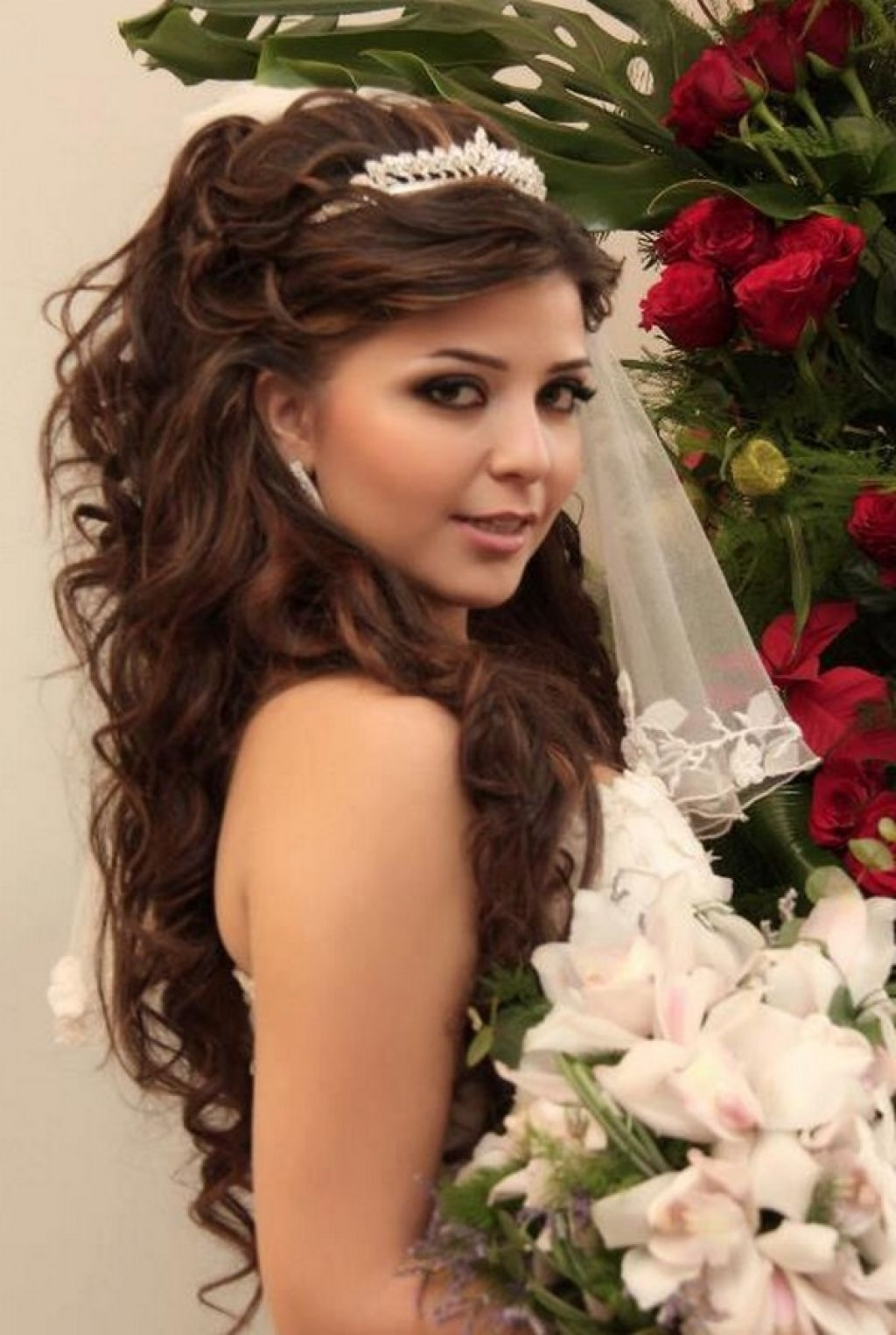 Wedding Hairstyle For Long Curly Dark Hair 50th Anniversary Cakes Inside 2018 Wedding Hairstyles For Long Hair With Tiara (View 15 of 15)