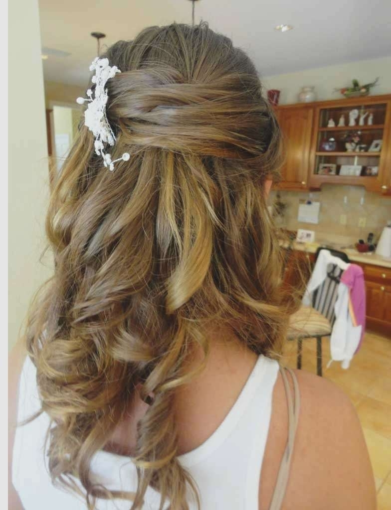 Wedding Hairstyles Down For Medium Length Hair Elegant Half Up Half Pertaining To Most Recently Released Elegant Wedding Hairstyles For Shoulder Length Hair (View 8 of 15)