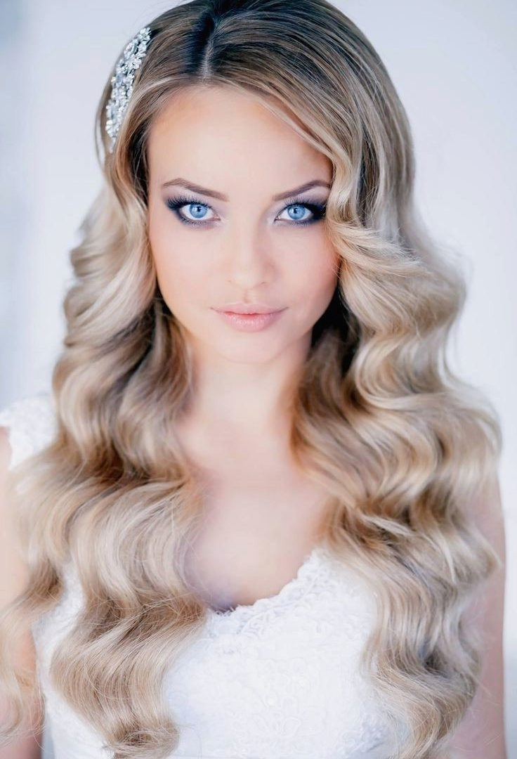 Wedding Hairstyles For Long Hair Down With Flowers Medium Half Up Pertaining To Recent Wedding Hairstyles With Long Hair Down (View 10 of 15)