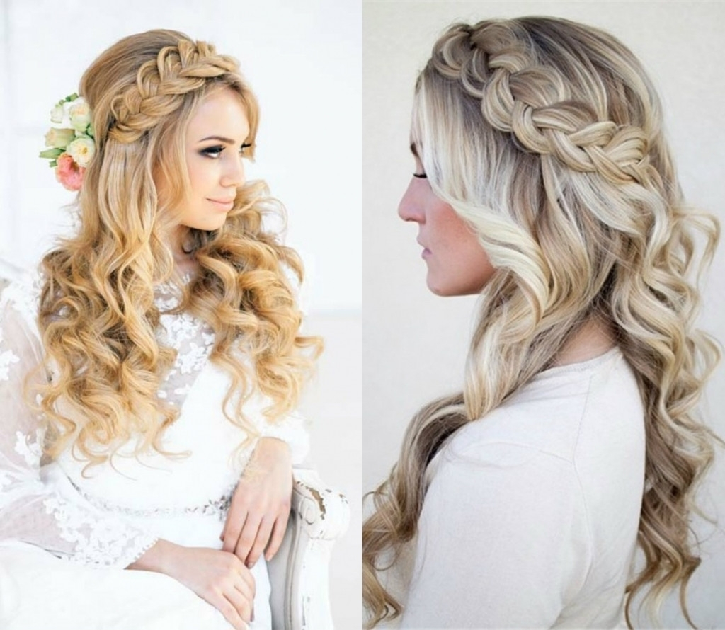 Wedding Hairstyles For Long Hairf Up Down Tutorial Medium Curly Inside Latest Wedding Hairstyles For Long Hair Down With Flowers (View 10 of 15)