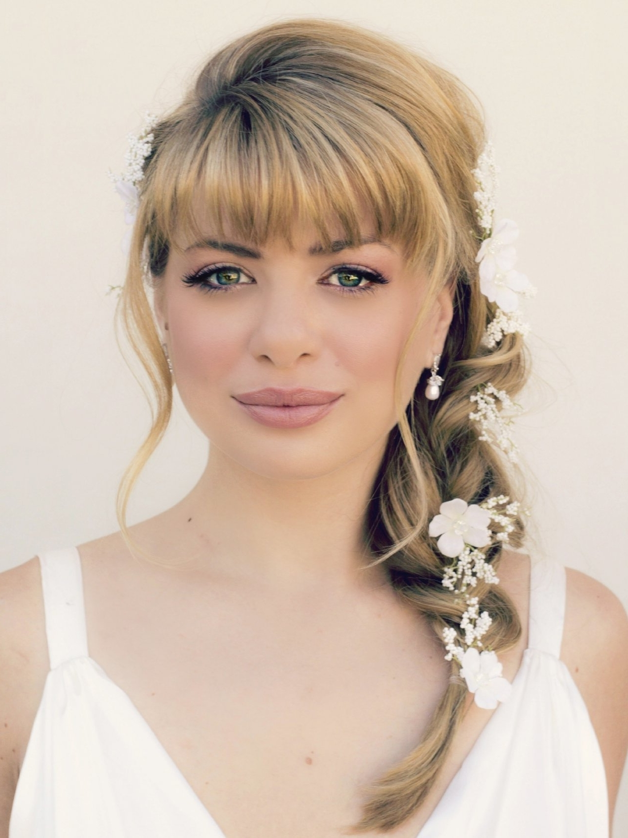 Wedding Hairstyles For Medium Length Hair With Bangs Ideas Of For Well Liked Wedding Hairstyles For Medium Length Layered Hair (View 13 of 15)