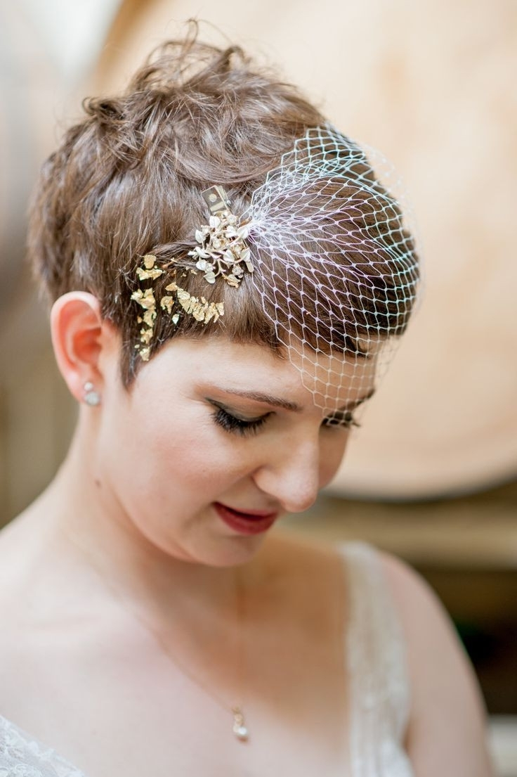 Wedding Hairstyles For Short Hair With Veil Best Of 111 Best Short Within Preferred Wedding Hairstyles For Short Hair And Veil (View 9 of 15)