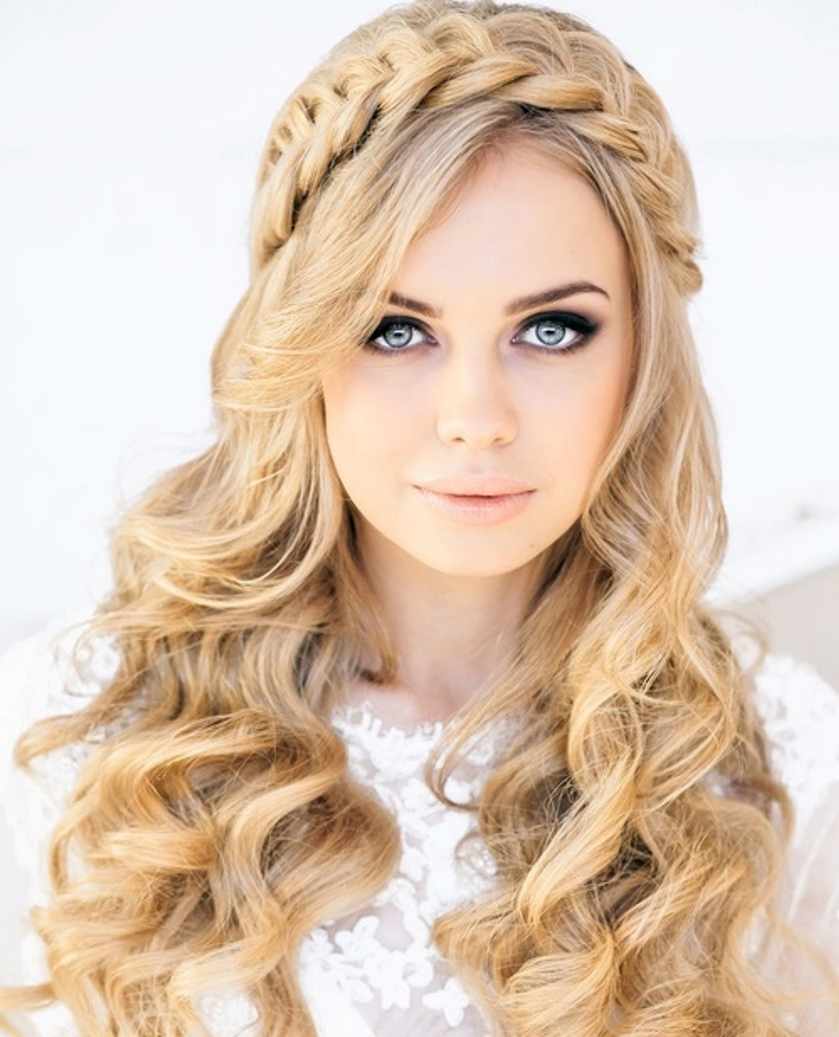 Wedding Hairstyles Ideas: Front Braid Long Hair All Down Curly Pertaining To Newest Down Long Hair Wedding Hairstyles (Gallery 6 of 15)