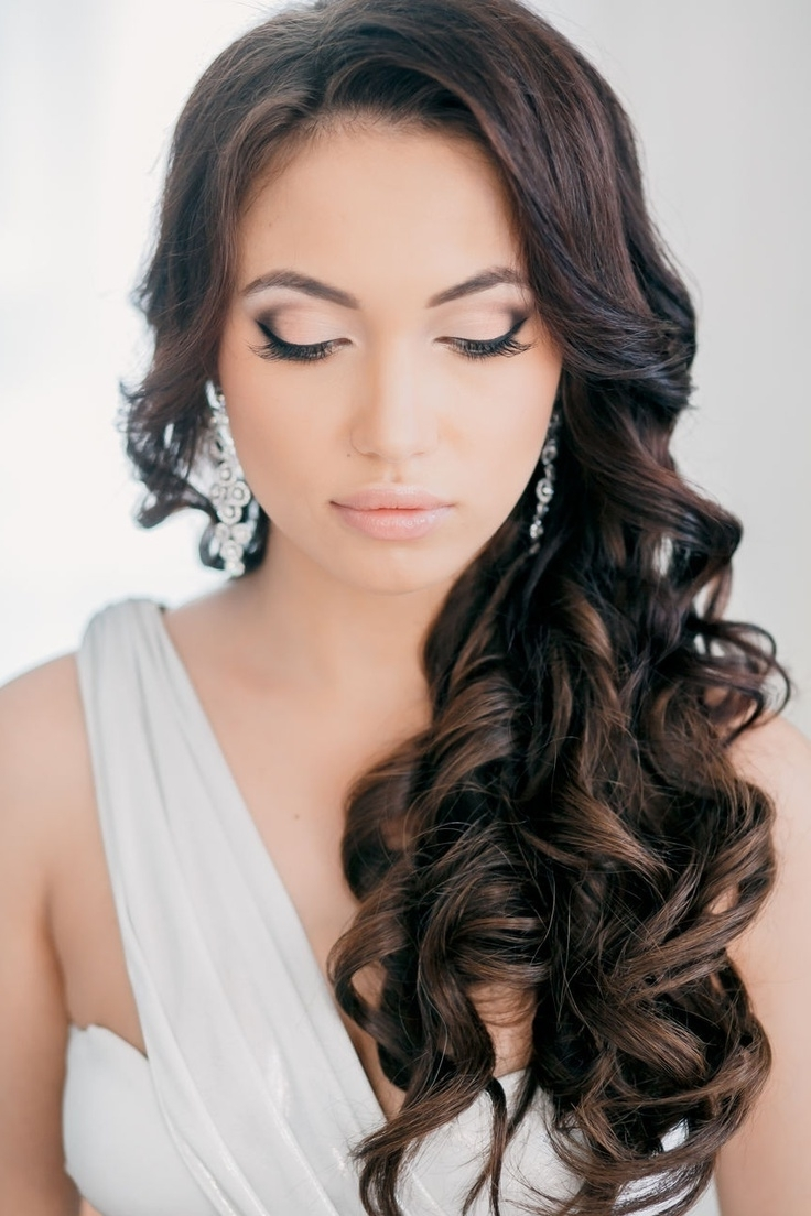 Wedding Hairstyles Ideas: Side All Down Long Hair Curly Hairstyles For Most Popular Pulled To The Side Wedding Hairstyles (View 15 of 15)