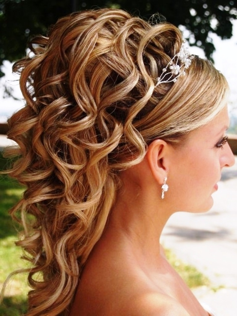 Wedding Hairstyles Ideas: Side Ponytail Curly Half Up Medium Length In Popular Wedding Hairstyles For Long Hair With Crown (View 15 of 15)
