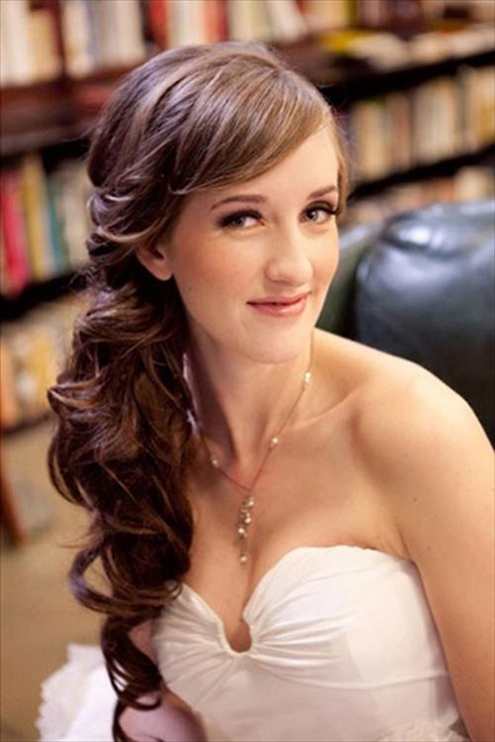 Wedding Hairstyles Ideas Side Ponytail Long Thick Wavy Hair For Inside Popular Wedding Hairstyles For Long Hair With Bangs (View 11 of 15)