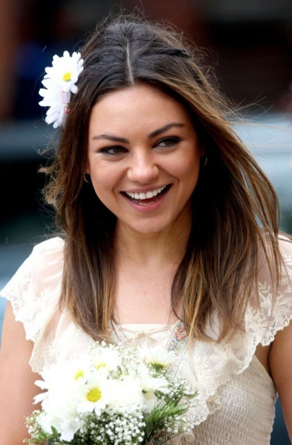 Wedding Hairstyles Ideas: Simple Straight All Down Medium Hair For Current Wedding Hairstyles For Long Hair Down With Flowers (View 11 of 15)