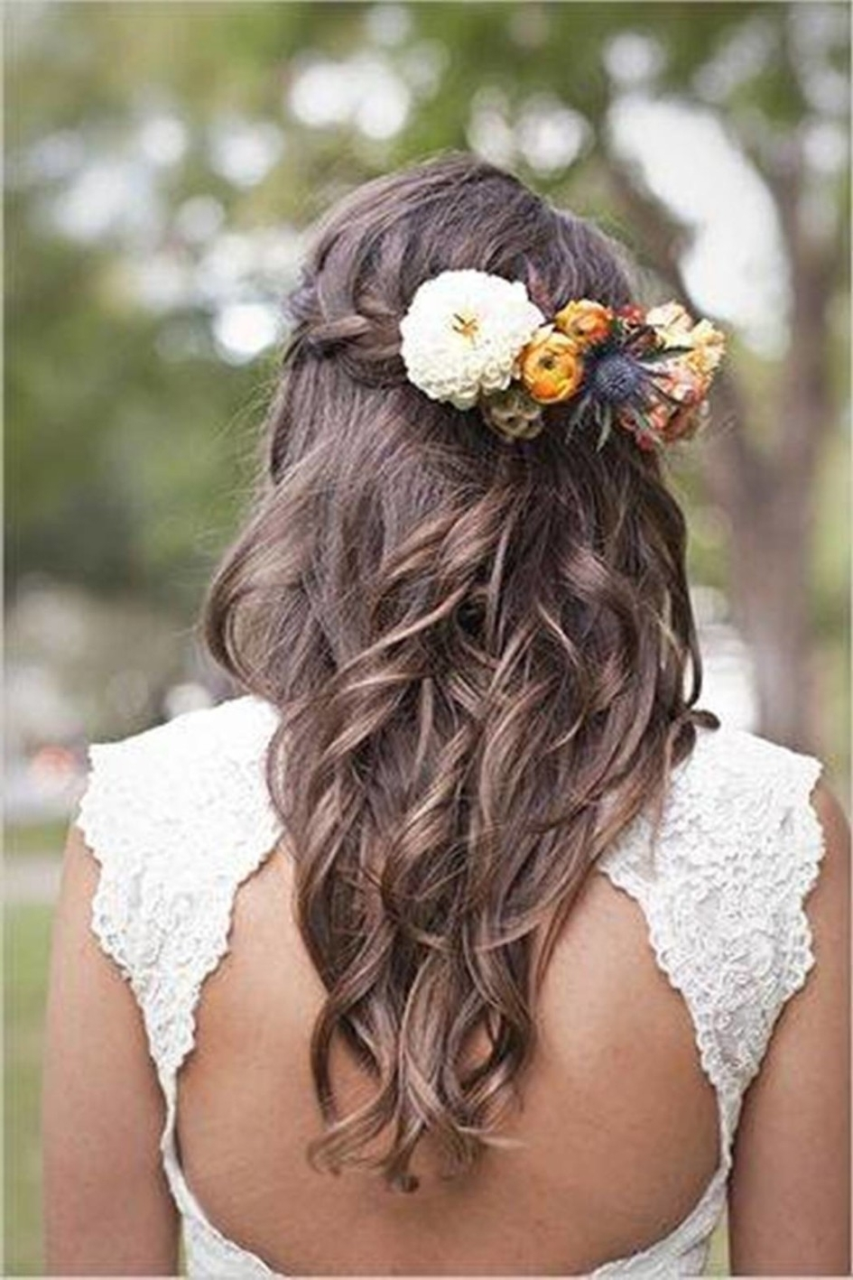 Wedding Hairstyles Ideas: Wedding Hair Flowers Braid Combined With Intended For Current Wedding Hairstyles For Long Hair With Flowers (View 7 of 15)