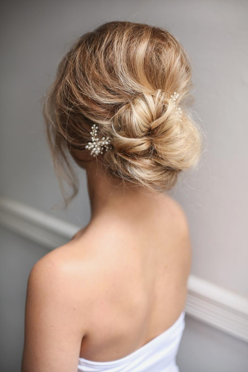 Wedding Hairstyles : Loose Low Bun Wedding Hairstyles Image To Best Pertaining To Well Known Loose Bun Wedding Hairstyles (Gallery 3 of 15)