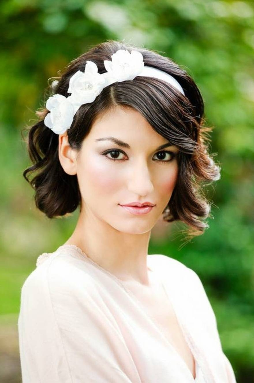 Wedding Hairstyles : Short Wedding Hairstyles With Headband And With Most Up To Date Wedding Hairstyles For Short Hair With Bangs (View 12 of 15)