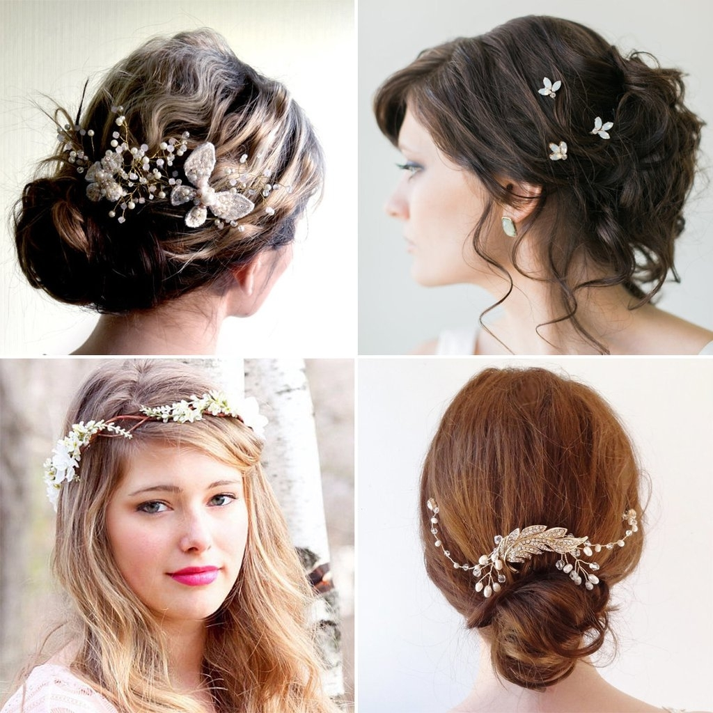 Wedding Hairstyles With Headpiece Gold Flower Double Headband Pertaining To 2017 Grecian Wedding Hairstyles For Long Hair (View 15 of 15)