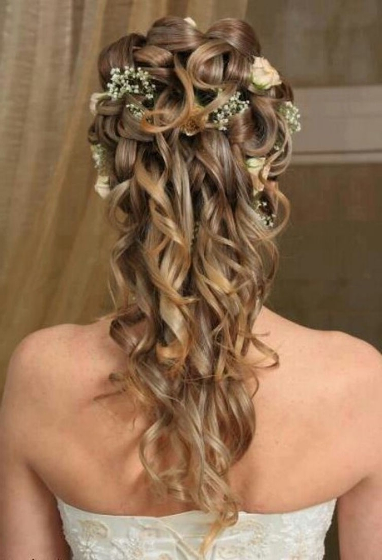 Weddingtyles For Long Hair Half Up Stunning Medium Length Ideas Pertaining To Current Wedding Hairstyles For Mid Length Hair With Fringe (View 12 of 15)