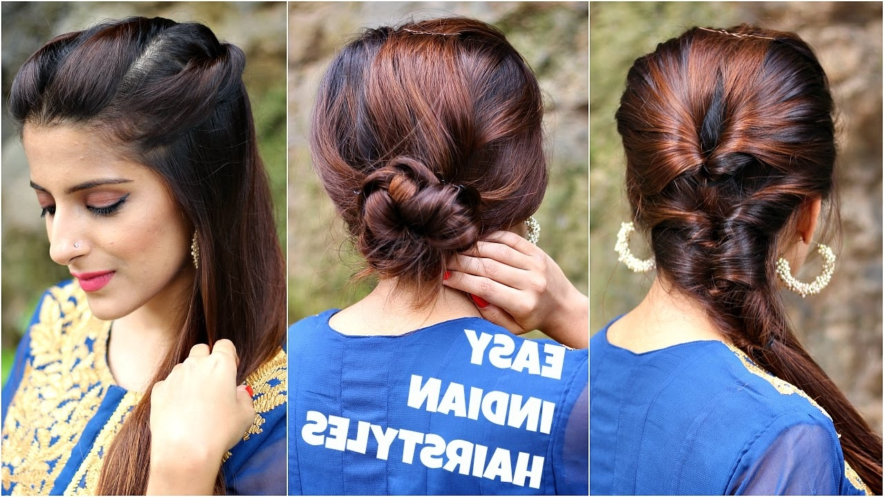 Well Known Easy Indian Wedding Hairstyles For Short Hair Within 3 Anarkali Hairstyles For Medium/long Hair/easy Everyday Indian (View 13 of 15)