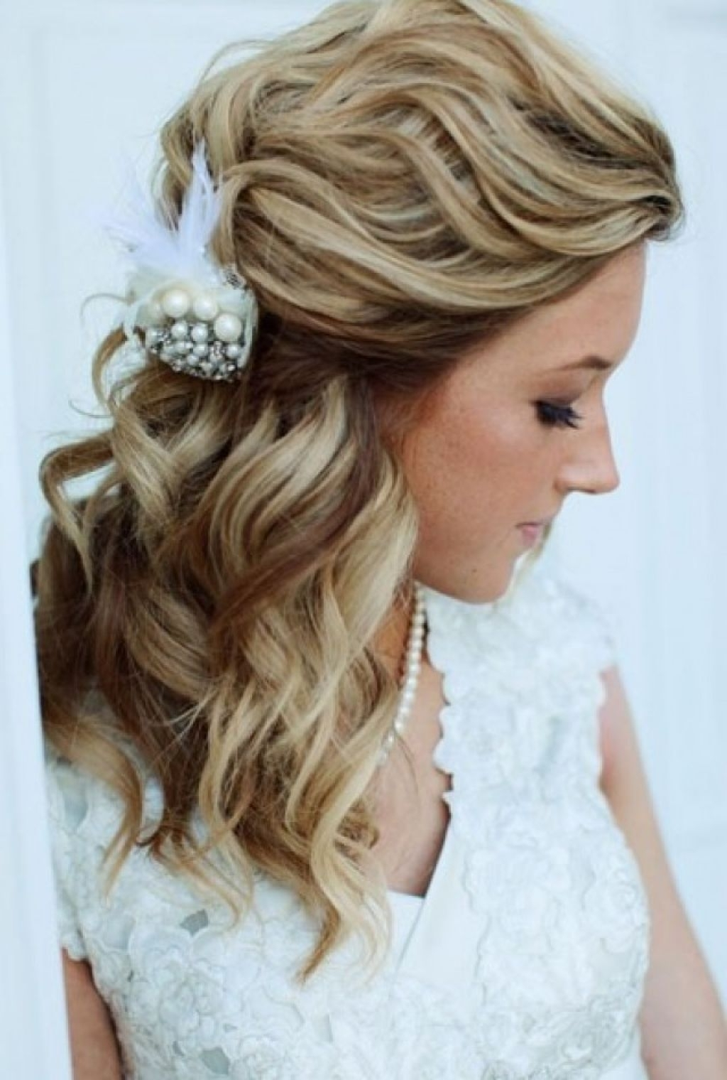 Well Known Wedding Hairstyles For Medium Length Thick Hair Regarding Loose Curls Half Up Half Down Wedding Hairstyle – Girly Hairstyle (View 15 of 15)