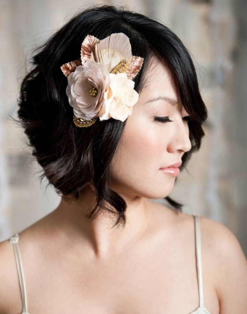 Well Known Wedding Hairstyles For Short Hair And Bangs Throughout √ Winning Bridesmaid Hairstyle Short Hair – Women Medium Haircut (View 15 of 15)
