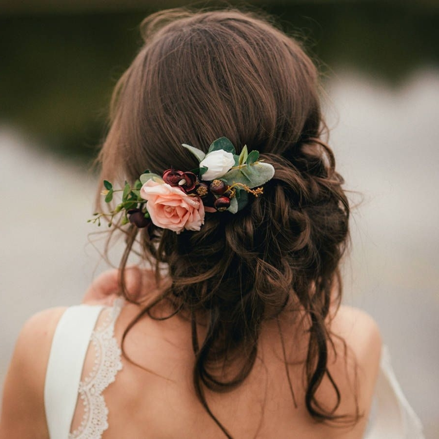Well Known Wedding Hairstyles With Flowers Regarding Are You Interested In Our Bridal Flower Hair Comb? With Our (View 3 of 15)