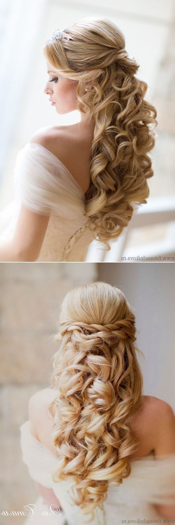 Well Liked Curls Down Wedding Hairstyles Throughout 20 Awesome Half Up Half Down Wedding Hairstyle Ideas (View 14 of 15)