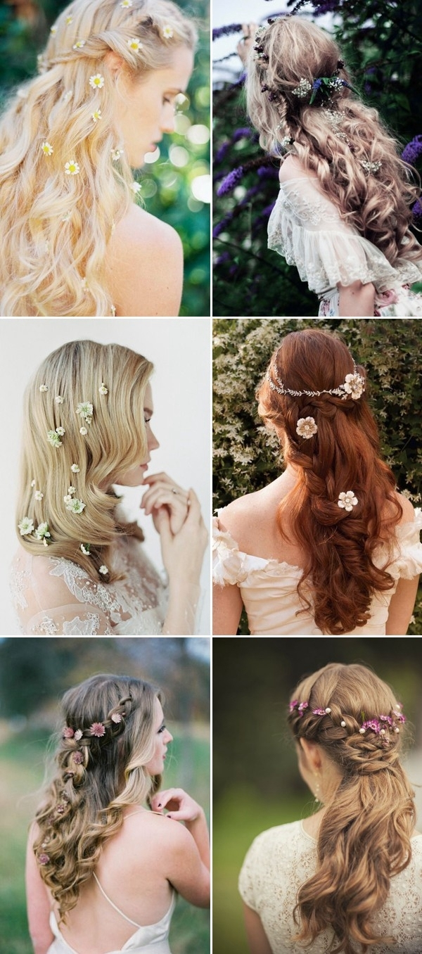 Well Liked Half Up Half Down With Flower Wedding Hairstyles In 100+ Romantic Long Wedding Hairstyles 2018 – Curls, Half Up, Updos (View 6 of 15)