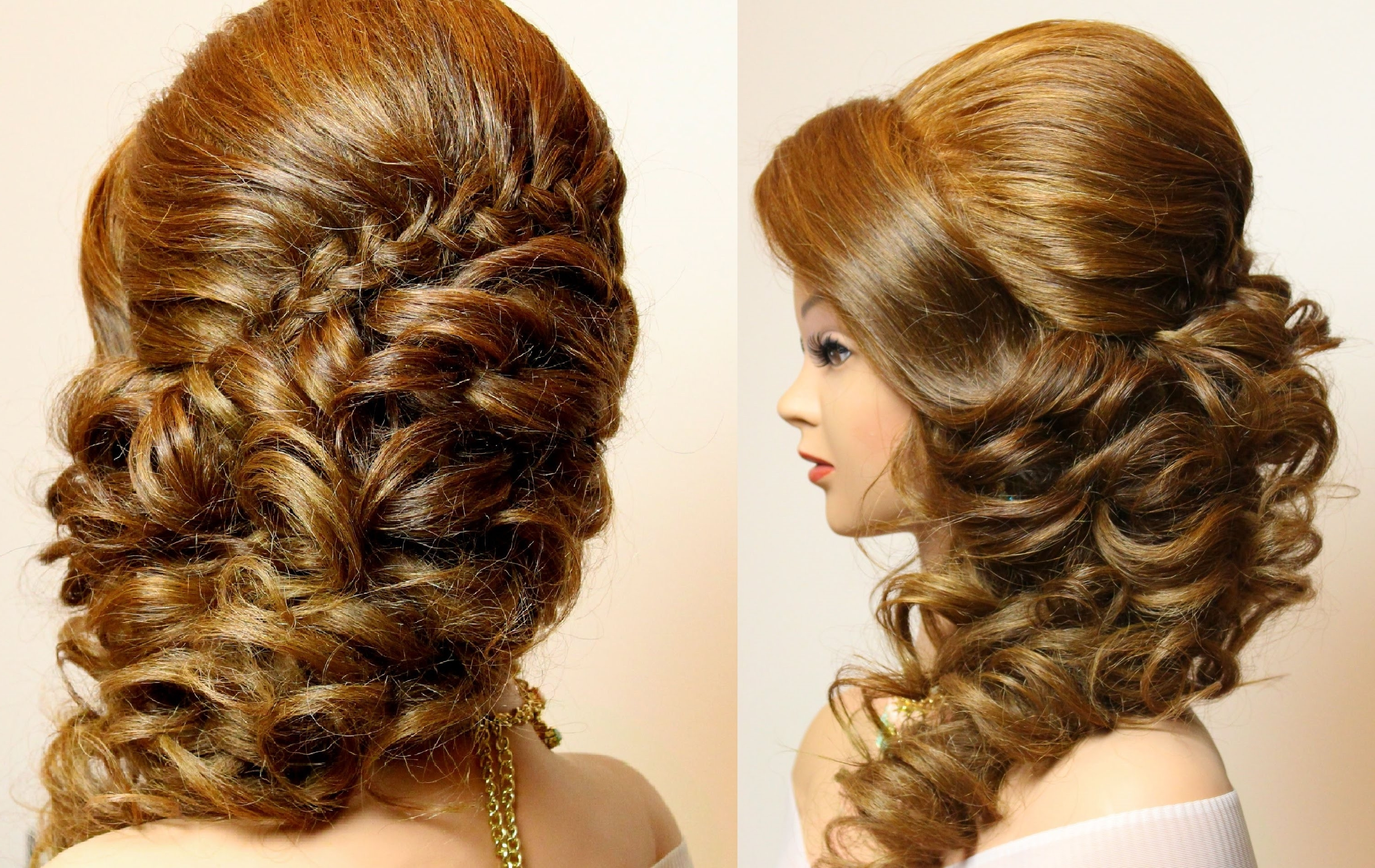 Well Liked Plaits Bun Wedding Hairstyles Pertaining To Bridal Hairstyle With Braid And Curls (View 15 of 15)