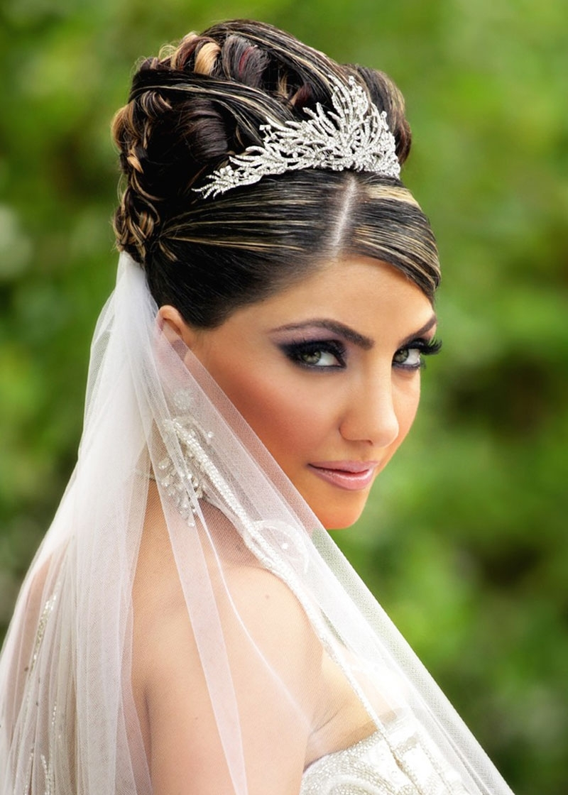 Well Liked Wedding Hairstyles For Long Hair Down With Veil And Tiara In Wedding Hairstyles Updos With Veil (View 10 of 15)