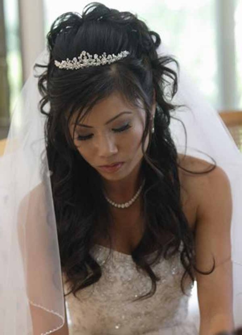 Well Liked Wedding Hairstyles For Long Hair Down With Veil And Tiara Regarding Bridal Hairstyles With Veil And Tiara (View 12 of 15)