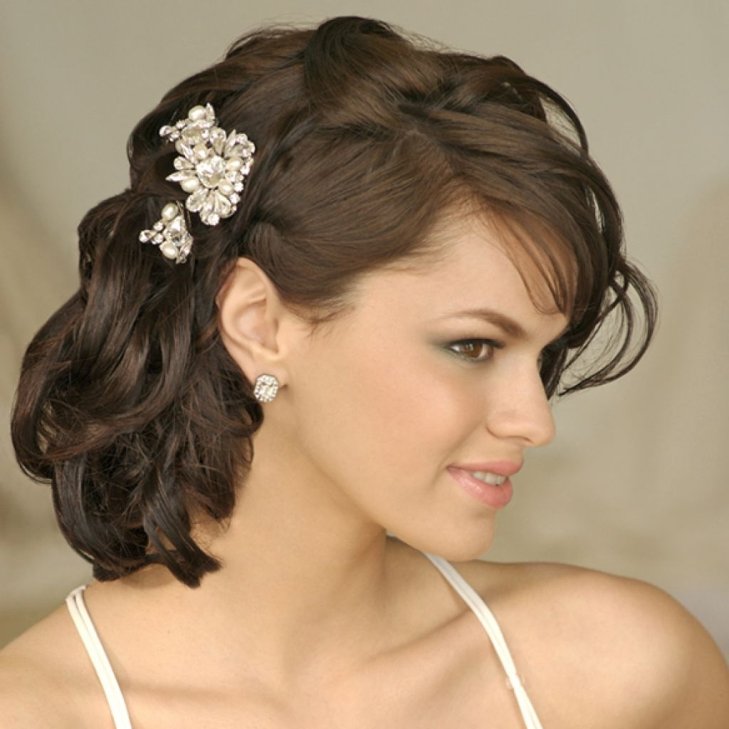 Well Liked Wedding Hairstyles For Medium Length Wavy Hair Within Short Curly Wedding Hairstyles – Hairstyle For Women & Man (View 15 of 15)