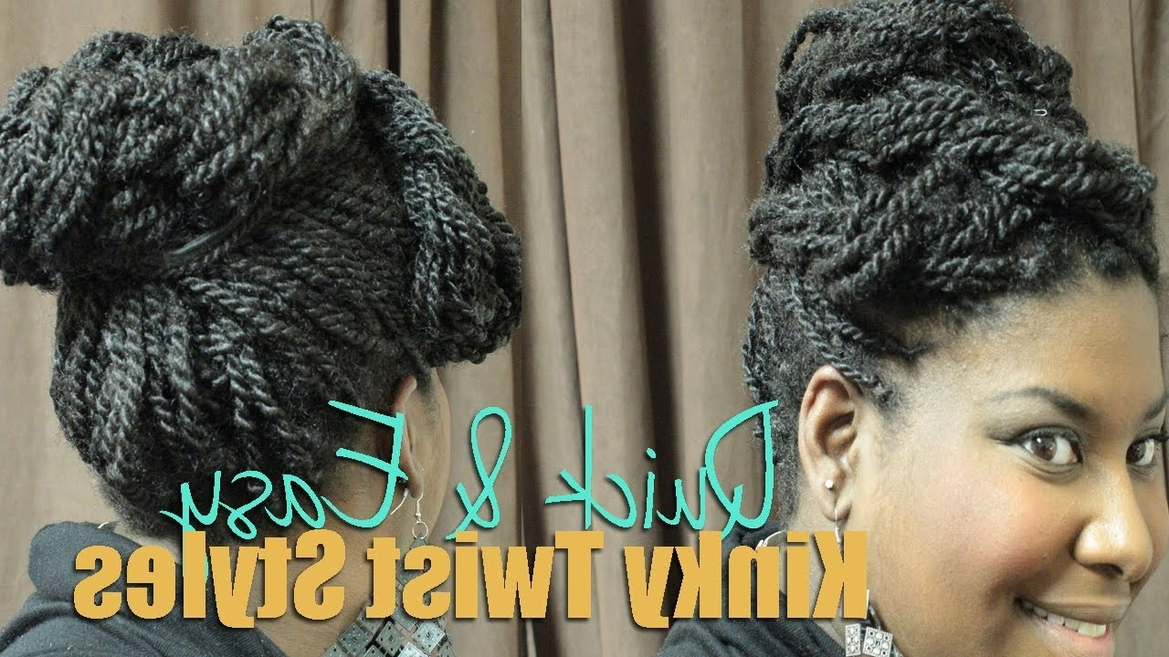 Well Liked Wedding Hairstyles With Kinky Twist With Regard To Natural Hair Tutorial: 3 Quick & Easy Kinky Twist Updo Styles (View 15 of 15)