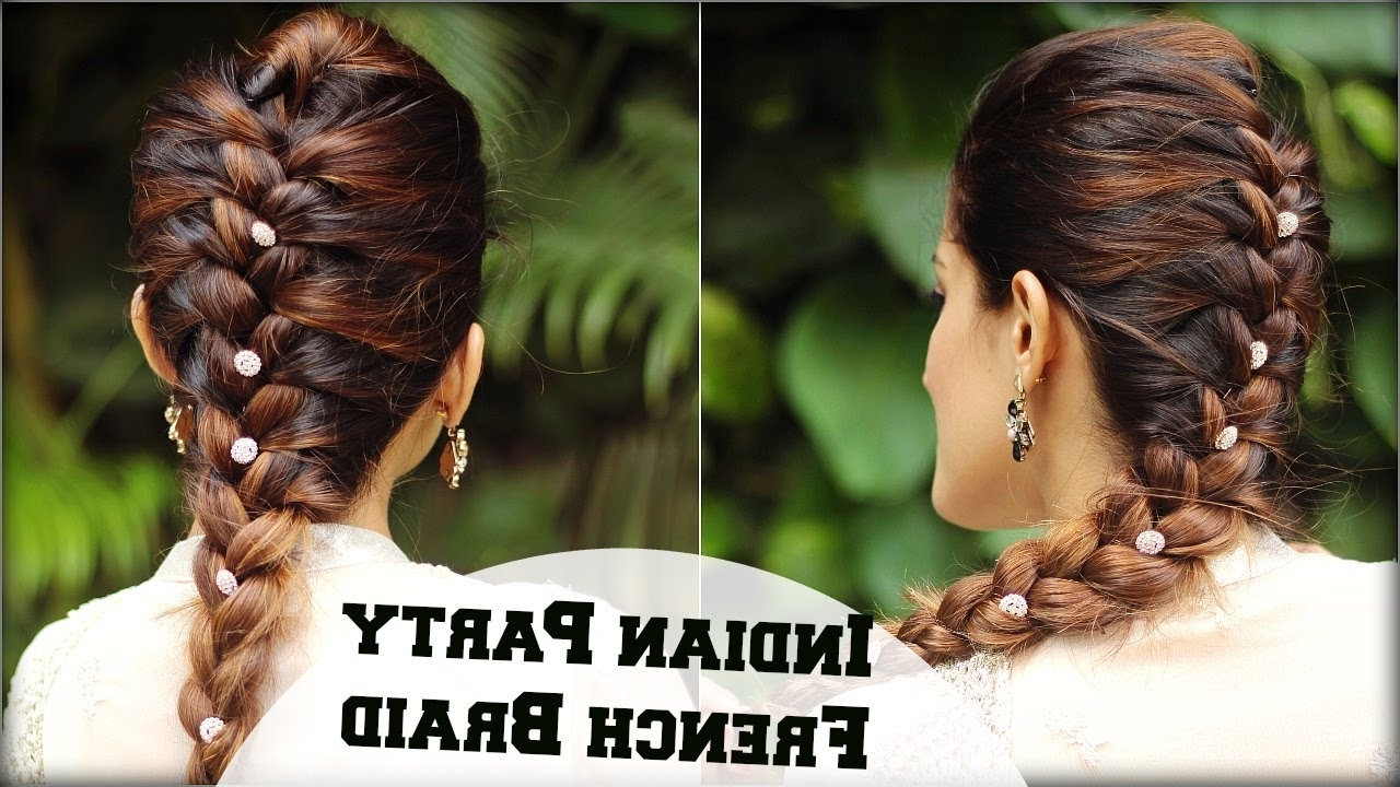 Widely Used Braided Hairstyles For Long Hair Indian Wedding Throughout Easy French Braid Ponytail Hairstyle For Indian Wedding Occasion (View 15 of 15)