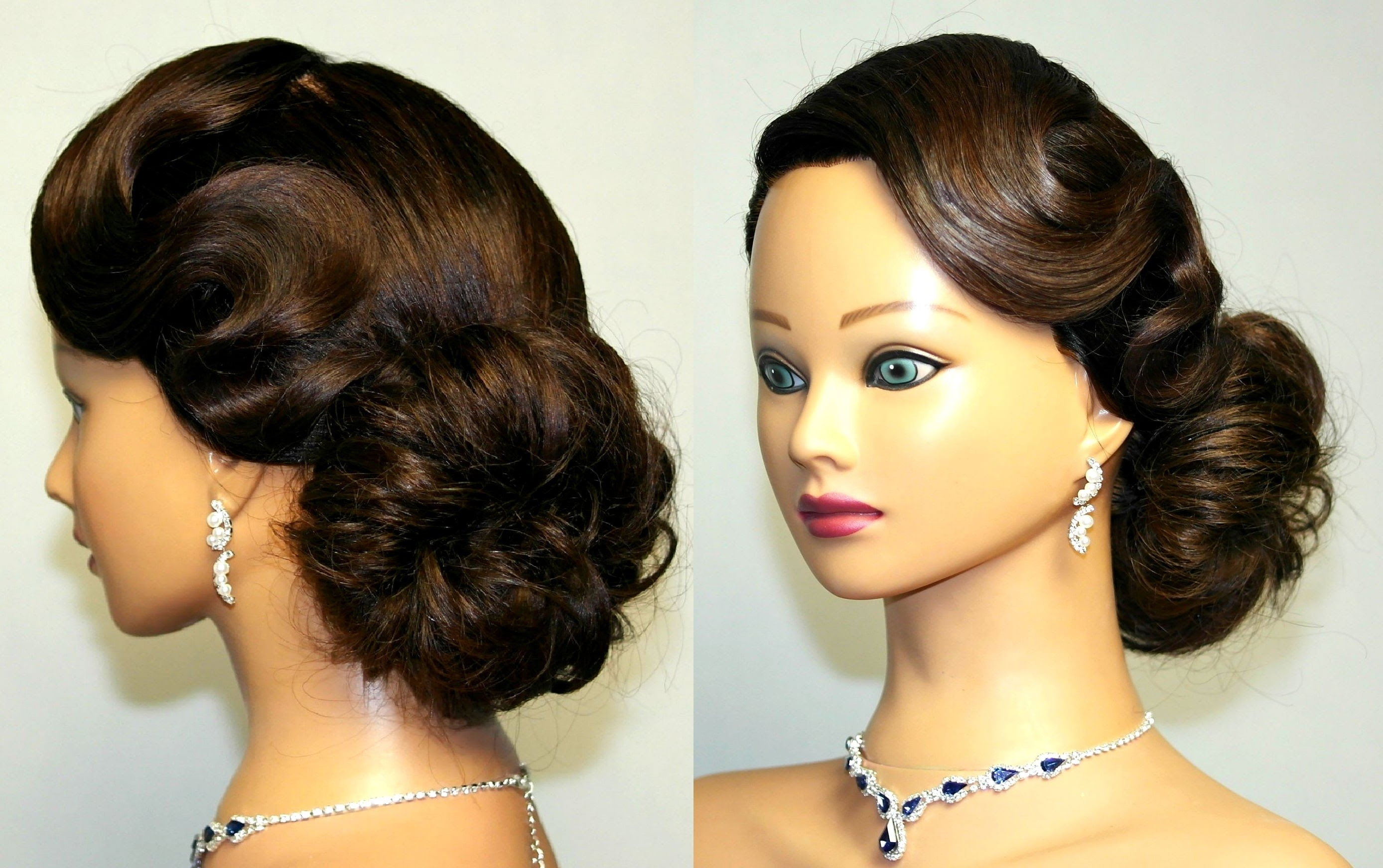 Widely Used Classic Wedding Hairstyles For Long Hair Within Vintage Updo, Hairstyle For Medium Long Hair (View 3 of 15)