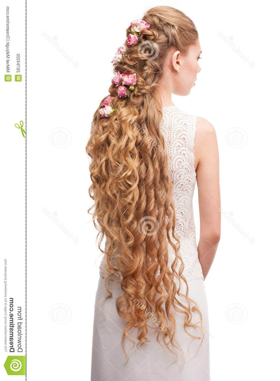 Widely Used Long Wedding Hairstyles With Flowers In Hair In Woman With Curly Long Hair Stock Photo (View 13 of 15)