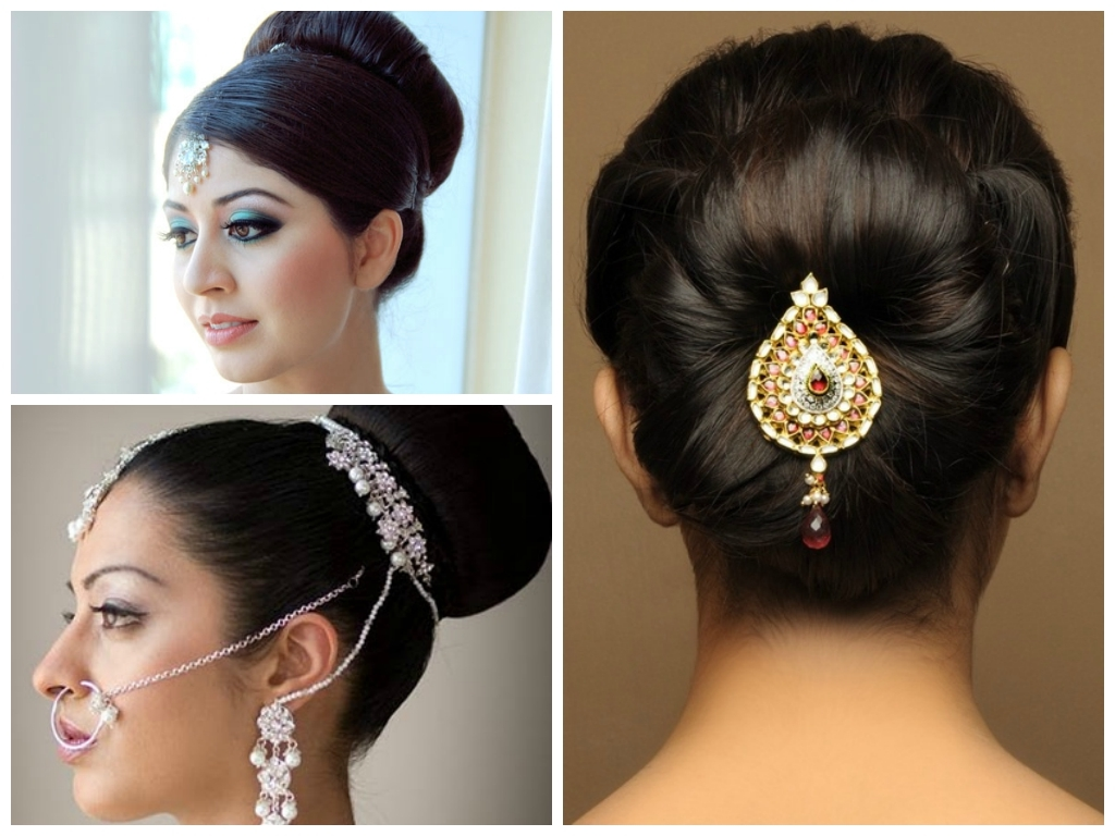 Widely Used Wedding Hairstyles At Home Regarding Photo: Wedding Hairstyles For Medium Hair Bun Indian Wedding (View 13 of 15)