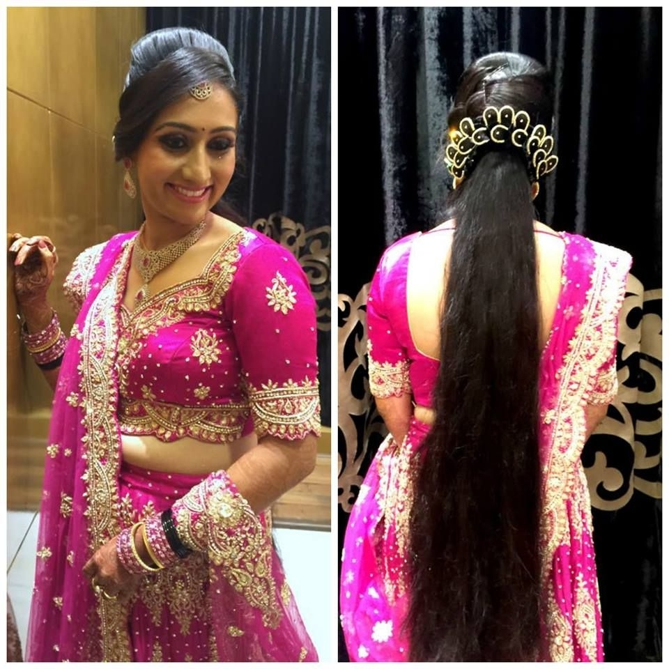 Widely Used Wedding Hairstyles For Lehenga Pertaining To Traditional Southern Indian Bride Wearing Bridal Lehenga And (View 15 of 15)