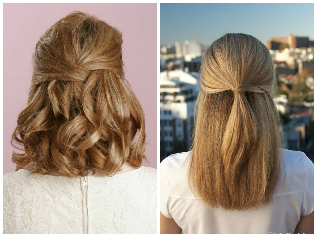 Widely Used Wedding Hairstyles For Short Length Hair Down Pertaining To Half Up Half Down Wedding Hairstyles For Short Hair – Hairstyle For (View 6 of 15)