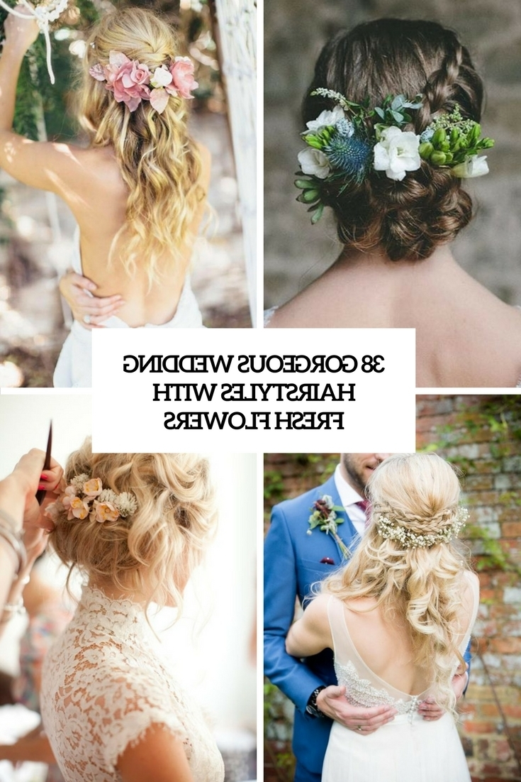 Widely Used Wedding Hairstyles With Flowers Throughout 38 Gorgeous Wedding Hairstyles With Fresh Flowers – Weddingomania (View 14 of 15)