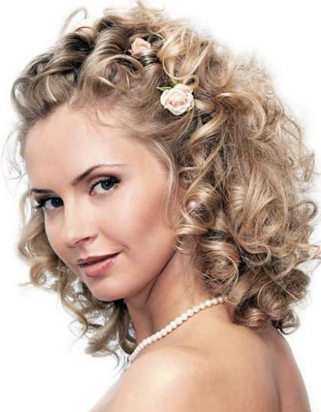 Women Curly Wedding Hairstyles For Medium Length Hair Naturally Throughout Latest Wedding Hairstyles For Medium Short Hair (View 11 of 15)
