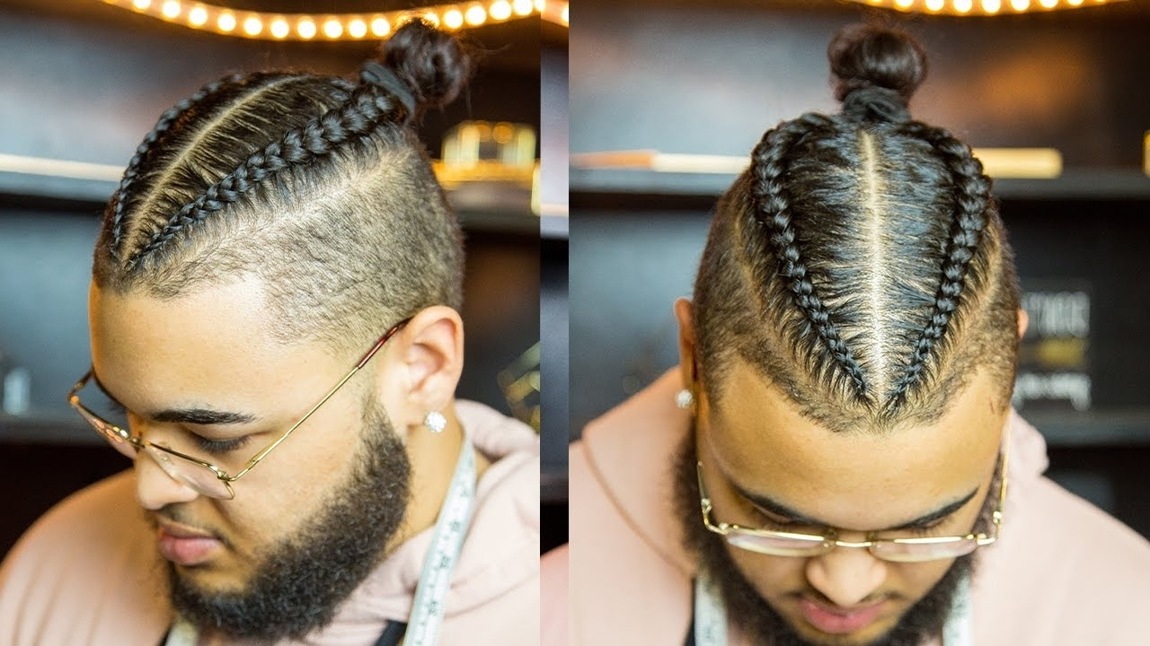 2 Braids Man Bun Hairstyle For Mixed Curly Hair (Tutorial) (View 2 of 15)