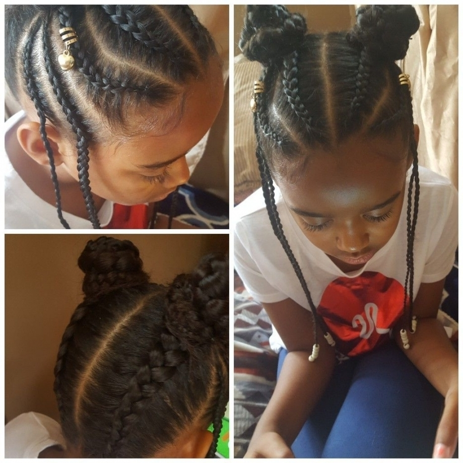 2017 Braided Up Hairstyles With Weave For Little Girl Braids My Creations Pinterest Kid Braid Styles Intended (View 1 of 15)